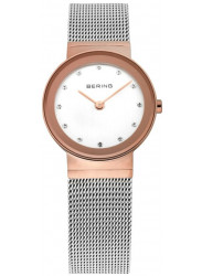 Bering Women's Classic White Dial Rose Gold Stainless Steel Mesh Watch 10126-066