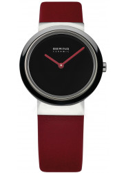 Bering Women's Black Dial Red Leather Watch 10729-642
