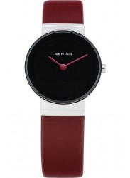 Bering Women's Classic Black Dial Red Leather Watch 10126-604