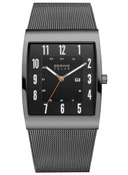 Bering Men's Solar Black Dial Grey Stainless Steel Watch 16433-377