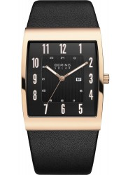 Bering Men's Solar Black Dial Black Leather Watch 16433-462