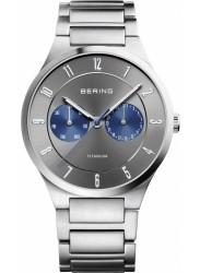 Bering Men's Titanium Chronograph Grey Dial Silver Titanium Watch 11539-777