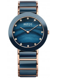 Bering Women's Blue Mother Of Pearl Dial Two Tone Ceramic Watch 11435-767