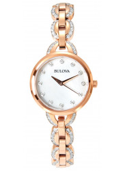Bulova Women's Crystal Mother Of Pearl Dial Gold Tone Stainless Steel Watch 98L207