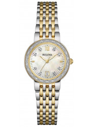 Bulova Women's Maiden Mother Of Pearl Dial Diamond Two Tone Watch 98R211
