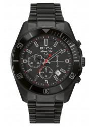 Bulova Men's Marine Star Chronograph Black Dial Black Ion Plated Stainless Steel Watch 98B231