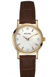 Bulova Women's Mother Of Pearl Dial Rose Gold Tone Stainless Steel Watch 97P105