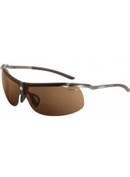 Carrera Unisex Wraparound Half- Rim Brown Sunglasses C-ALU3 0FO/O3