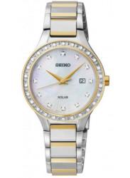 Seiko Women's Solar Diamond Mother Of Pearl Dial Watch SUT136