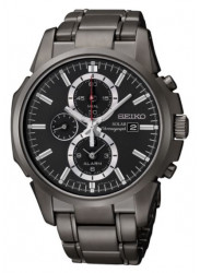 Seiko Men's Solar Black Dial Alarm Chronograph Watch SSC095