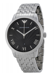 Emporio Armani Men's Black Dial Stainless Steel Watch AR1614