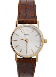 Bulova Women's White Dial Brown Leather Watch 98V31