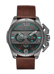 Diesel Men's Ironside Chronograph Brown Leather Watch DZ4387
