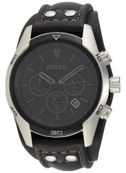 Fossil Men's Trend Chronograph Black Leather Watch CH2586