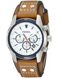 Fossil Men's Coachman Chronograph White Dial Leather Watch CH2986