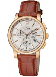 Face of Charmex Men's Chronograph White Dial Brown Leather Kyalami Watch CX-2060
