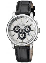 Charmex Men's Kyalami Chronograph White Dial Black Leather Watch CX-2065
