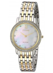 Citizen Silhouette Crystal Women's Mother Of Pearl Dial Two Tone Stainless Steel Watch EX1484-57D
