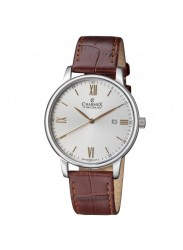 Charmex Men's Amalfi Silver Dial Brown Leather Watch CX-3020
