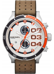 Diesel Men's Double Down White Dial Brown Leather Watch DZ4310