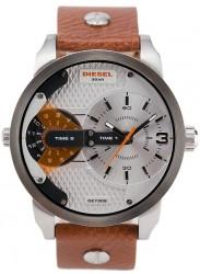 Diesel Men's Mini Daddy Silver Dial Brown Leather Watch DZ7309