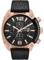 Diesel Men's Overflow Chronograph Black Dial Black Leather Watch DZ4297