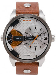 Diesel Men's Mini Daddy Silver Dial Brown Leather Watch DZ7309