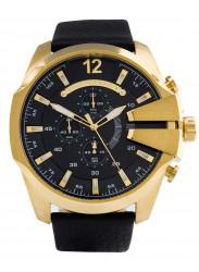 Diesel Men's Mega Chief Chronograph Black Dial Leather Watch DZ4344