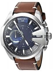 Diesel Men's Mega Chief Hybrid Blue Dial Brown Leather Smartwatch DZT1009