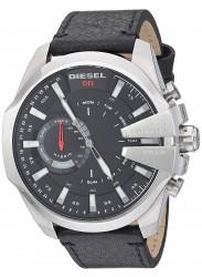 Diesel Men's Mega Chief Hybrid Black Dial Black Leather Smartwatch DZT1010