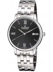 Charmex Men's Amalfi Black Dial Stainless Steel Watch CX-3036