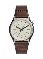 Fossil Men's Barstow Cream Dial Brown Leather Watch FS5510