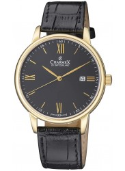 Charmex Men's Amalfi Black Dial Black Leather Watch CX-3027