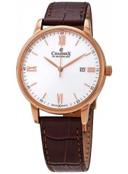 Charmex Men's Amalfi Silver Dial Brown Leather Watch CX-3030