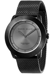 Perry Ellis Unisex New Slim Line Grey Sunray Dial Black Stainless Steel Watch 11003-04