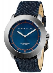 Perry Ellis Unisex New Slim Line Blue Sunray Dial Blue Denim Strap Watch 11001-05