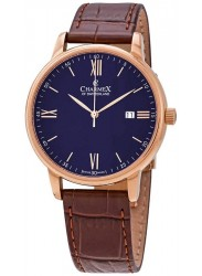 Charmex Men's Amalfi Blue Dial Brown Leather Watch CX-3032