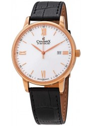 Charmex Men's Amalfi Silver Dial Black Leather Watch CX-3033