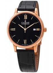 Charmex Men's Amalfi Black Dial Black Leather Watch CX-3034