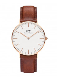 Daniel Wellington Women's St Mawes Brown Leather Rose Gold DW00100035