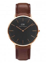 Daniel Wellington Men's Bristol Brown Leather Rose Gold DW00100125
