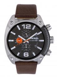 Diesel Men's Advanced Chronograph GMT Black Dial Brown Leather Watch DZ4204