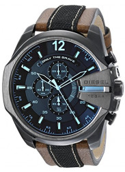 Diesel Men's Mega Chief Chronograph Leather Strap Watch DZ4305