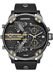 Diesel Men's Chronograph Black Dial Black Leather Watch DZ7348