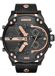 Diesel Men's Chronograph Black Dial Black Leather Watch DZ7350