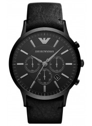 Emporio Armani Men's Chronograph Black Dial Black Leather Watch AR2461