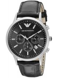 Emporio Armani Men's Chronograph Black Dial Black Leather Watch AR2447