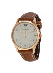 Emporio AR1866 Armani Grey Dial Cognac Leather Men's Watch