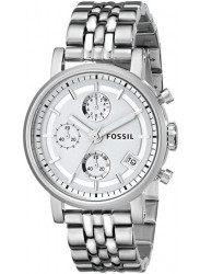 Fossil Women's Chronograph Silver Dial Silver Tone Watch ES2198