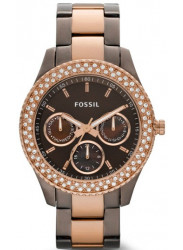 Fossil Women's Stella Chocolate Dial Two Tone Watch ES2955